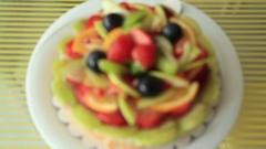 Tart pie jellied fresh fruits Stock Footage