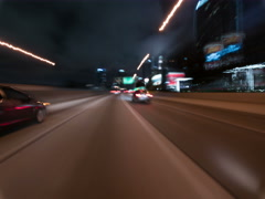8K Drive Hyperlapse Full Frame Shot of Los Angeles Downtown Freeway at Night Stock Footage