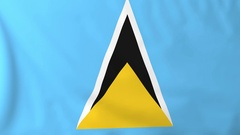 Flag of Saint Lucia waving in the wind, seemless loop animation Stock Footage