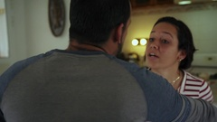 Violence At Home Social Issues With Man And Woman Fighting Stock Footage