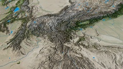 Revolution around Hindu Kush mountain range - masks. Satellite imagery Stock Footage