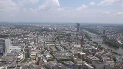 4K Aerial view famous Frankfurt city skyline Germany travel icon destination day Stock Footage
