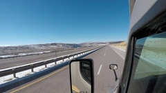 Exterior Semi-Truck - Editorial - Rural Wyoming Cattle Truck Pass Stock Footage