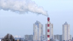 New modern area with new buildings and and thermal station with a smoke Stock Footage