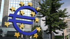 4K Famous Euro sculpture sign Frankfurt business district landmark economy power Stock Footage