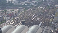 4K Aerial view Frankfurt main terminal train station public commuter transport Stock Footage