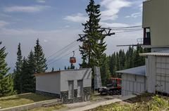 Station  of  contemporary ski tow or lift Stock Photos