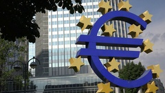4K Euro sign symbol of EU currency modern financial building Frankfurt emblem Stock Footage