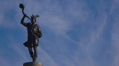 Trumpeter Sculpture in Stockholm. Sweden.  4K. Stock Footage