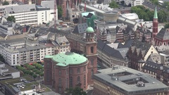 4K Aerial view Frankfurt old town tourism attraction emblem iconic architecture Stock Footage