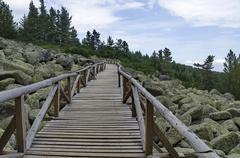 Unique stone river with big granite stones or moraine and wooden bridge Stock Photos