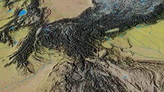 Revolution around Hindu Kush mountain range - masks. Topographic map Stock Footage