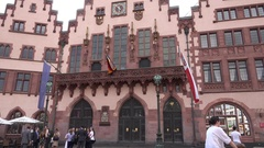 4K Famous ancient city hall house in Frankfurt landmark tourism attraction icon Stock Footage