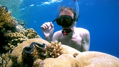 Snorkeling - man diving to the coral reef and considers maxima clam or small Stock Footage