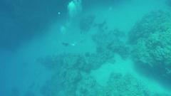 Diver under water bubbles releasing, 4k Stock Footage