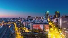 Madrid skyline timelapse aerial view pan Stock Footage