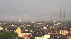 4K Aerial view Frankfurt beautiful city panorama and heavy fog smog pollution Stock Footage