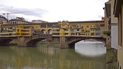 Ponte Vecchio, Old Bridge, Florence, Italy. Panorama. 4K. Stock Footage