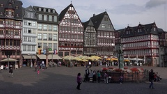 4K Beautiful medieval building architecture in Frankfurt iconic old town tourism Stock Footage