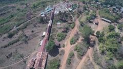 Aerial view on Shwe Inn Thein Paya temple, Myanmar Stock Footage