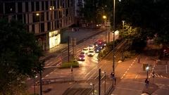 4K Timelapse public transportation Frankfurt city center traffic car pollution Stock Footage