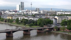 4K Timelapse heavy traffic car in suburban area Frankfurt tramway cross bridge Stock Footage