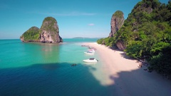 Aerial view on tropical beach in Thailand Stock Footage
