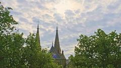 View of Collegiate Church in Neuchatel, Switzerland Stock Footage