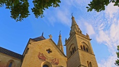 View of Collegiate Church in Neuchatel, Switzerland Stock Footage