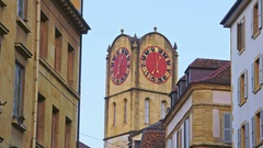 View of Vintage Bell-Tower in Neuchatel, Switzerland Stock Footage