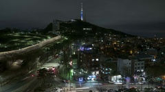 South Korea Seoul city TV tower sunset night time lapse Stock Footage