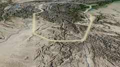 Glide over Hindu Kush mountain range - glowed. Satellite imagery Stock Footage