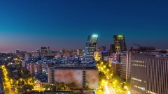 Madrid skyline timelapse from night to day aerial view Stock Footage