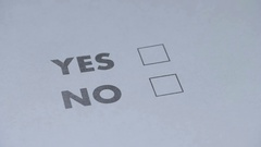 """""""Yes"""" or """"no"""" to a question, the person filling in the questionnaire Stock Footage"""