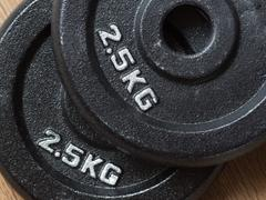 Two 2.5kg weight plates of barbell Stock Photos