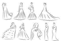Bride Silhouette set, Sketch bride, the bride in a beautiful wedding dress,.. Stock Illustration