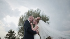 Nice walk of the couple in their wedding day Stock Footage