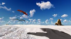 Flying pterodactyl over the land 3d illustration Stock Illustration
