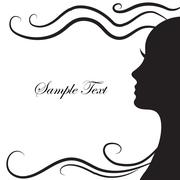 Abstract silhouette of a girl in profile with beautiful hairstyle, long hai.. Stock Illustration