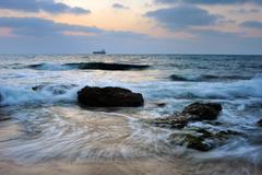 Mediterranean coast in southern Israel Stock Photos
