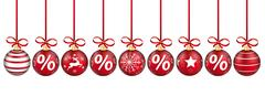 Red Christmas Baubles Red Ribbons Percent Headline Stock Illustration