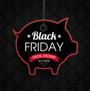 Piggy Bank Price Sticker Black Friday Wallpaper Ornaments Stock Illustration