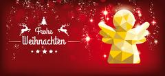 Low Poly Christmas Angel Red Headline Frohe Weihnachten Piirros