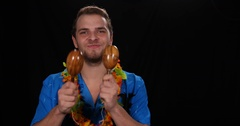 Happy Hawaii Music Singer Man Play Shakers Maracas Percussion Instrument Cabasa Stock Footage