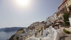Amazing Santorini with ancient white architecture. Mountains and sea view at the Stock Footage