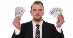 Businessman Show American Dollars Bills South Korean Won Banknotes Exchange Rate Stock Footage