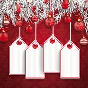 Christmas Ornaments Baubles Twigs Price Sticker Stock Illustration