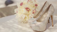 Rack Focus On Expensive Bridal Shoes Decorated With Shiny Crystals Stock Footage