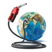 Gas pump and hose connected to the earth. 3D illustration Piirros
