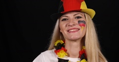 Attractive German Supporter Saluting Young Happy Woman Fan Smile Looking Camera Stock Footage